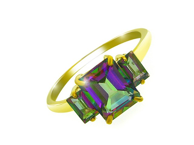 9ct Yellow Gold 2.75ct Mystic Topaz Three Stone Ring Size: Z