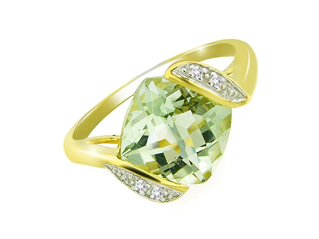 9ct Yellow Gold Green Mint Quartz Ring