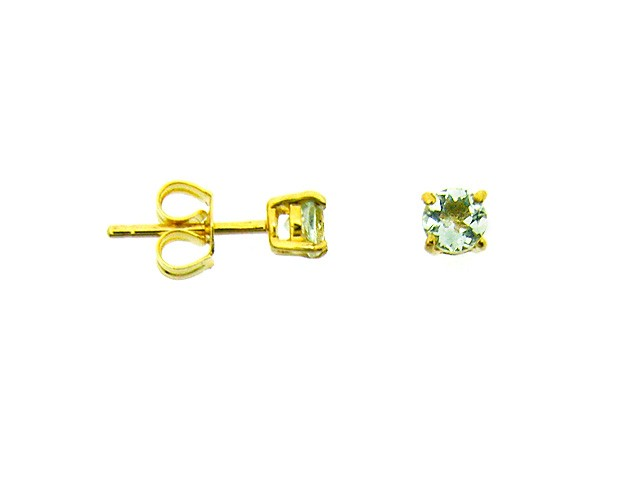 9ct Yellow Gold Green Mint Quartz Stud Earrings