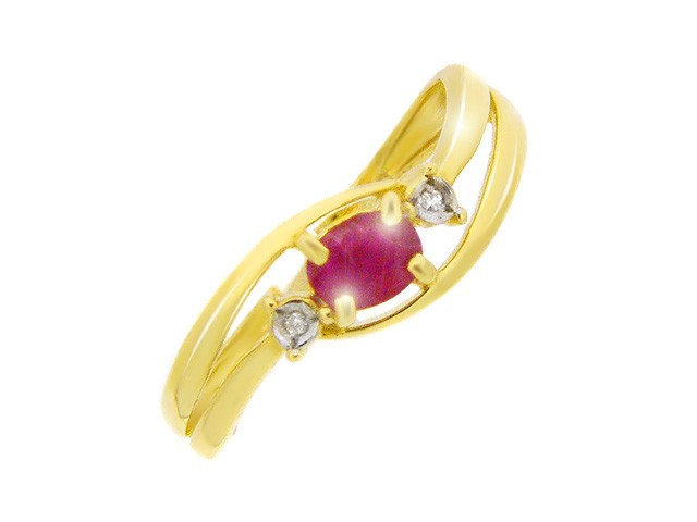 9ct Yellow Gold 0.43ct Ruby & Diamond Ring Size: N