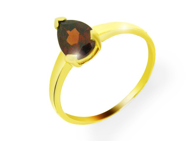 9ct Yellow Gold 1.17ct Natural Garnet Classic Pear Single Stone Ring Size: R