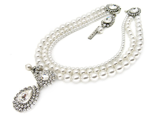 Otazu Faux White Pearl Crystal Necklace