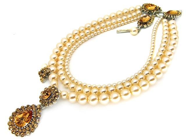 Otazu Faux Cream Pearl Crystal Necklace