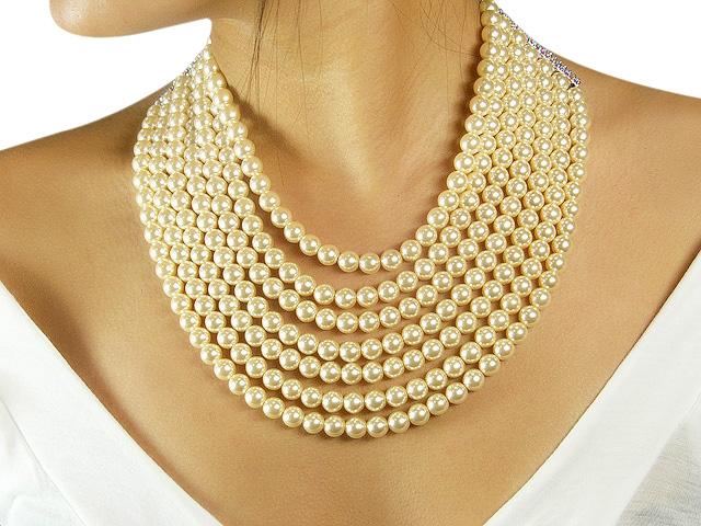Otazu Cream Pearl Crystal Necklace