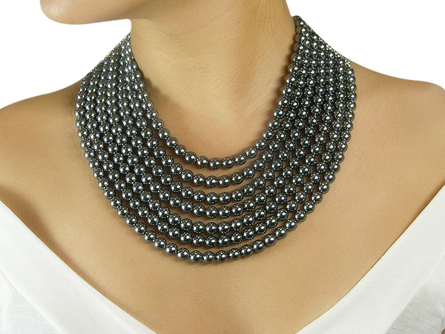 Otazu Black Pearl Crystal Necklace