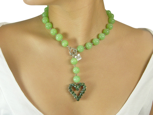 Otazu Green Bead Erinite Crystal Necklace