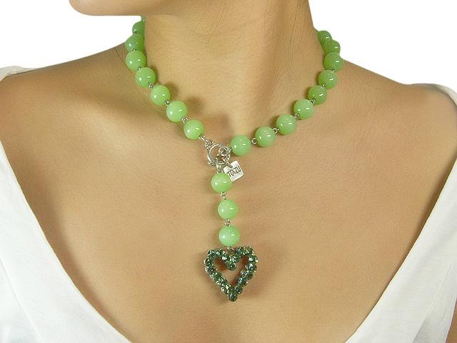 Otazu Green Bead Erinite Crystal Necklace
