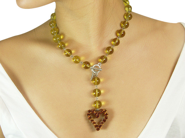 Otazu Light Olive Crystal Necklace