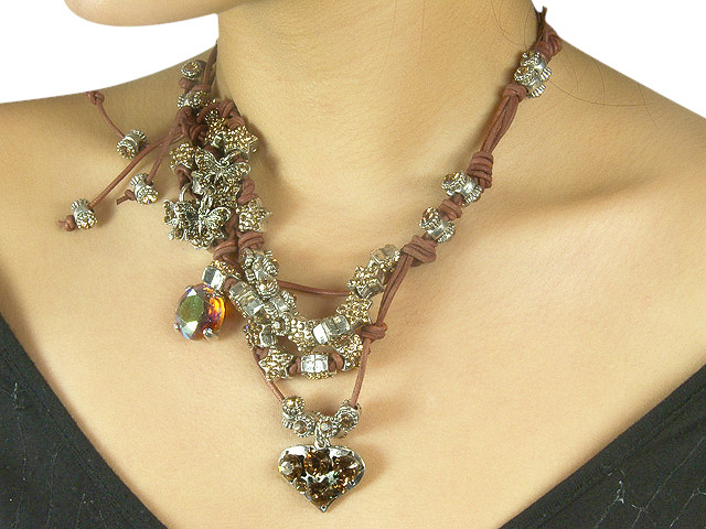 Otazu Brown Leather Necklace with Topaz Cryst