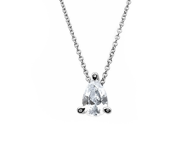 Esse Silver CZ Pear Shape Necklace