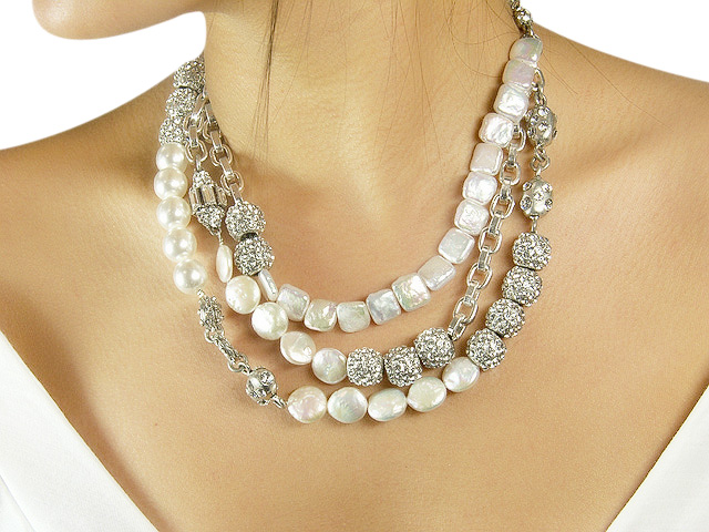 Otazu White Faux Pearl Necklace with White Cr