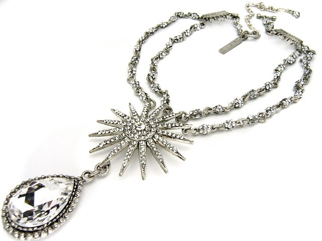 Otazu Silver Tone Necklace with White Crystal