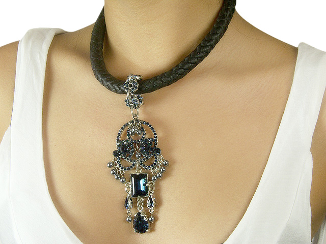 Otazu Leather Necklace with Montana Blue Crys
