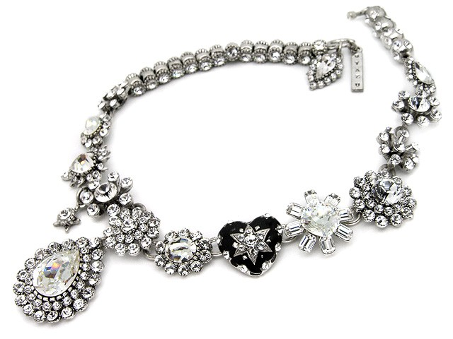 Otazu Silver Tone White Crystal Necklace