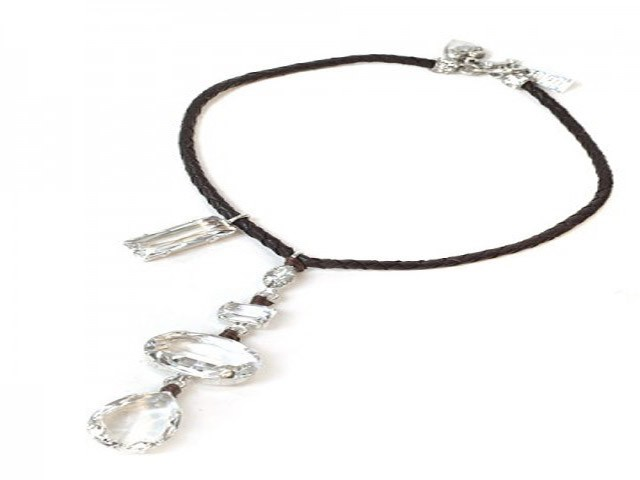 Otazu Necklace with White Crystals on Leather