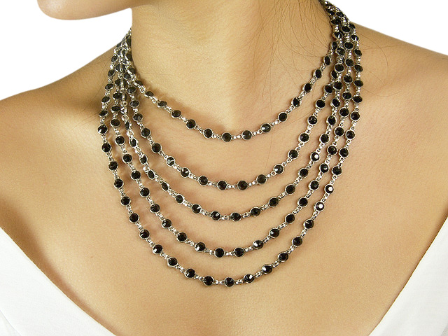 Otazu Silver Tone Necklace with Jet Black Cry