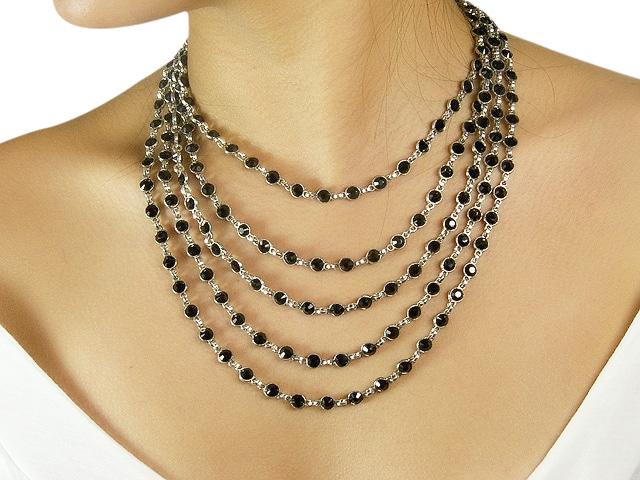 Otazu Silver Tone Necklace with Jet Black Cry