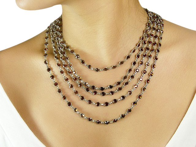 Otazu Silver Tone Necklace with Smoked Topaz