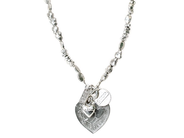Otazu Silver Tone Romantic Heart Necklace
