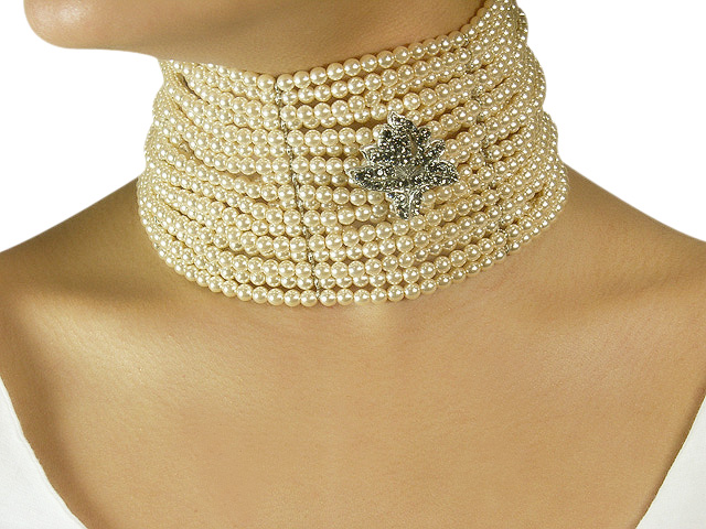 Otazu Silver Tone Cream Pearl Necklace with C