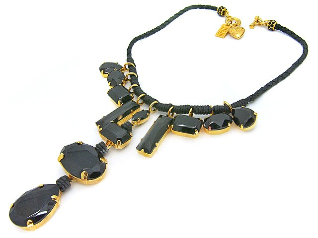 Otazu Black Leather Necklace with Jet Black C
