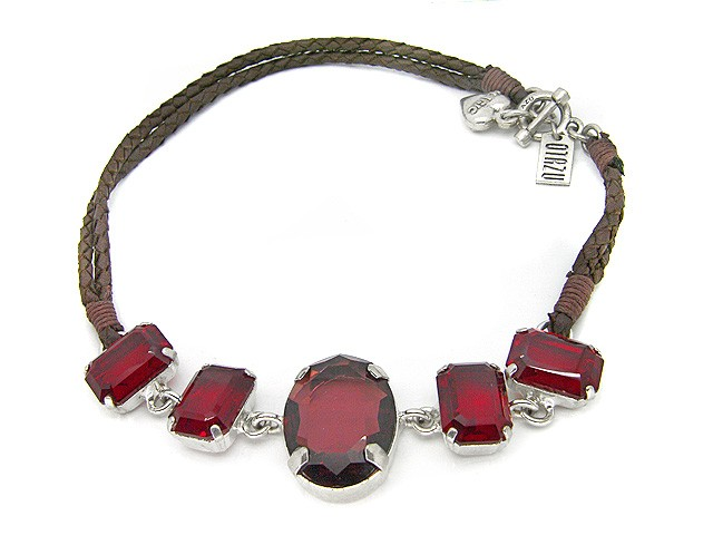 Otazu Red Crystal Necklace on Brown Leather C