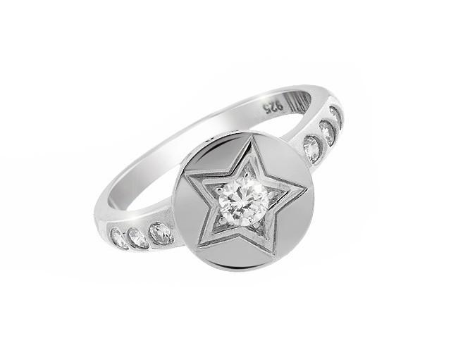 Otazu Rhodium Silver Star Cubic Zirconia Ring
