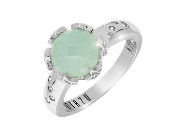 Otazu Rhodium Silver Aqua Cubic Zirconia Ring