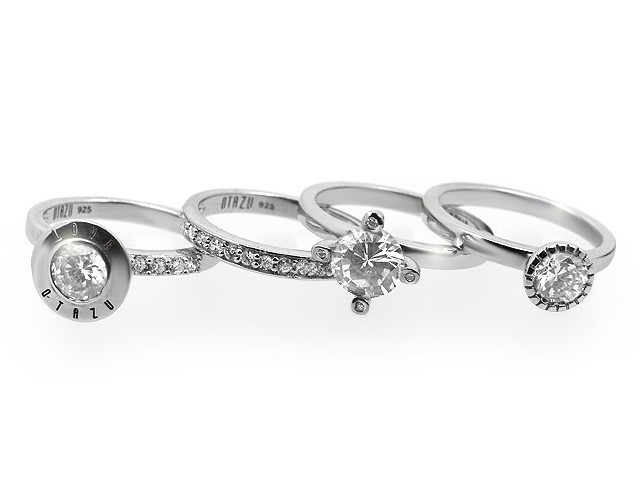 Otazu Rhodium Silver White Cubic Zirconia Four Set Ring