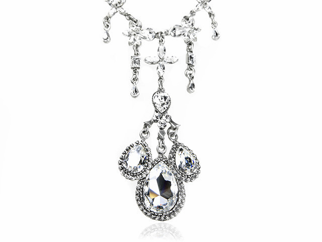 Otazu Silver Tone White Crystal Drop Necklace