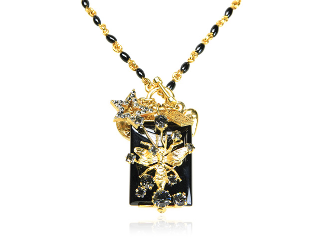Otazu Gold Tone Black Onyx Necklace with Black Swarovsk