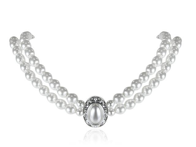 Silver Tone Pearl