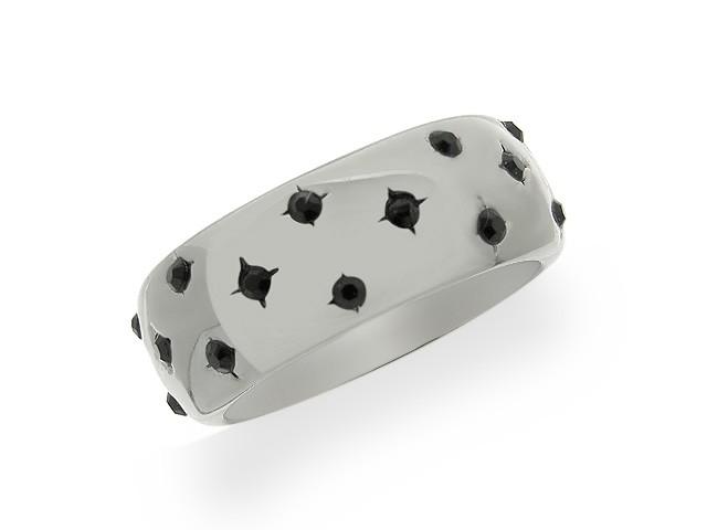 Otazu Silver Black CZ Band Ring