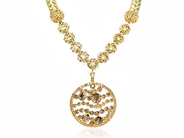 Otazu Gold Tone Crystal Chunky Drop Necklace