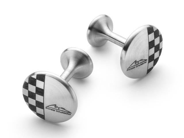 M. Schumacher Stainless Steel Chequered Flag Cufflinks