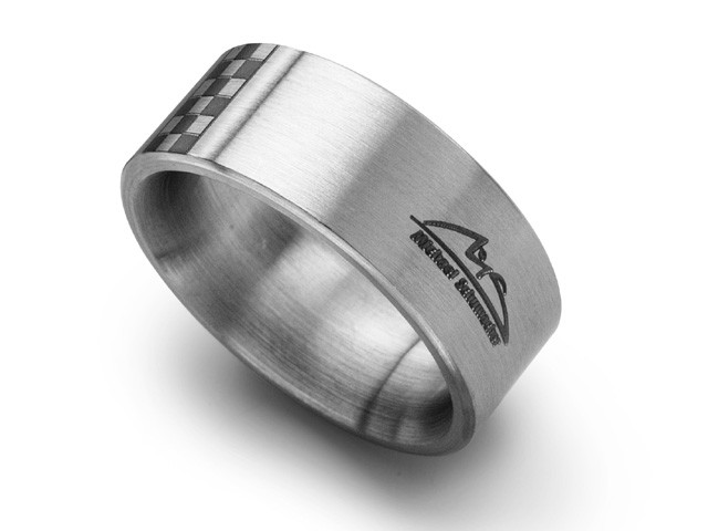 M.Schumacher Stainless Steel Chequered Flag Band Ring
