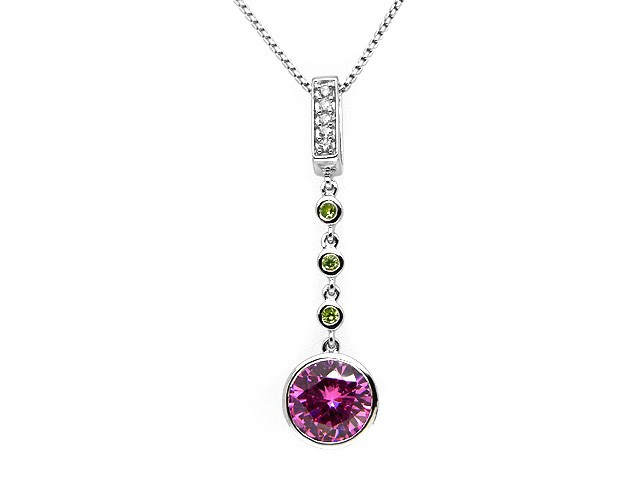Esse Silver Pink CZ Drop Necklace