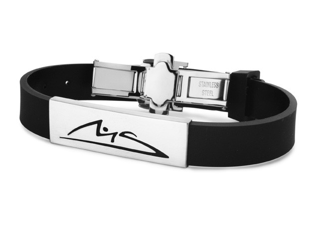 M. Schumacher Stainless Steel & Rubber Bracelet