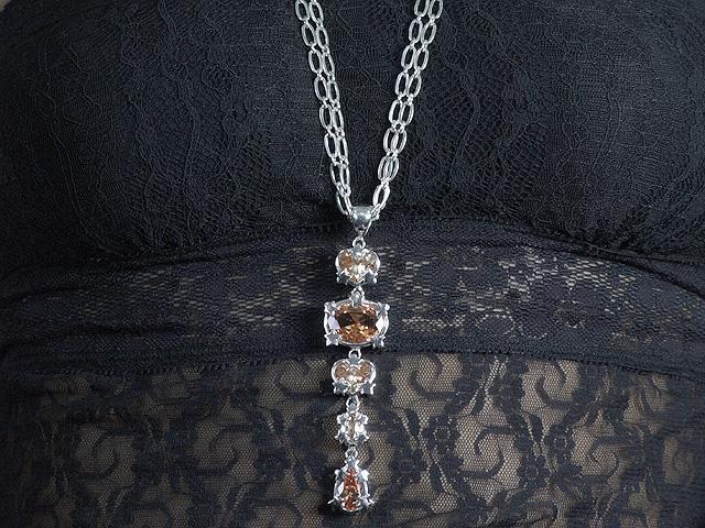 Otazu Silver Champagne CZ Drop Necklace