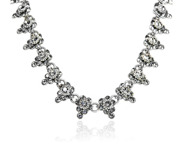 Otazu Silver Tone Black Diamond Necklace