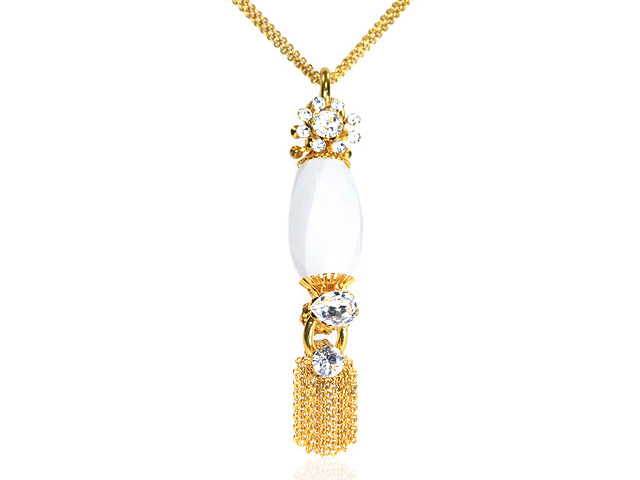 Otazu Gold Tone White Drop Necklace