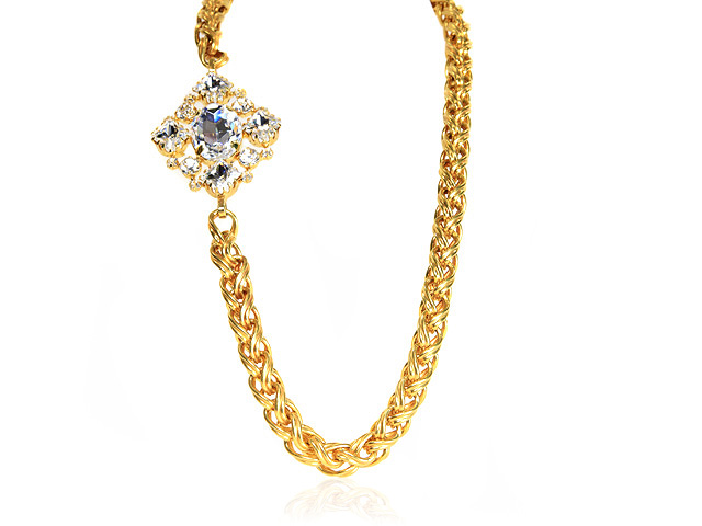 Otazu Gold Tone Chunky Necklace with Crystals
