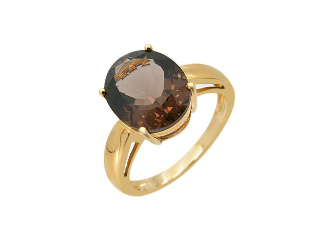 9ct Yellow Gold Smokey Quartz Cocktail Ring