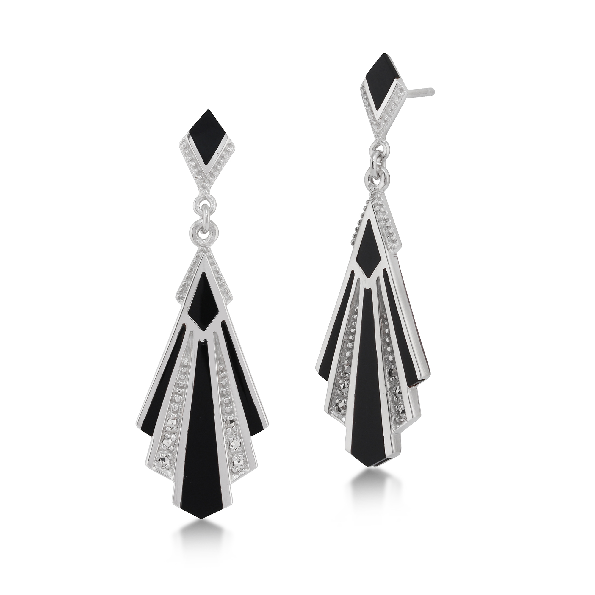 Sterling Silver 2.3ct Black Onyx & 0.13ct Marcasite Art Deco Drop Earrings