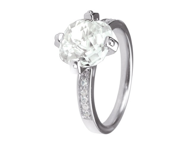 Cai Cubic Zirconia Silver Solitaire Ring
