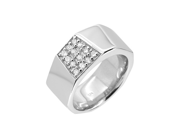 Cai Cubic Zirconia Silver Wide Band Ring