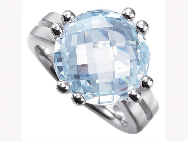 Cai Pretty Woman Ice Blue CZ Silver Ring