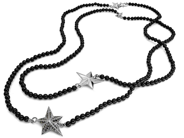 Cai Pretty Woman Collection Onyx Star CZ Silver Necklac