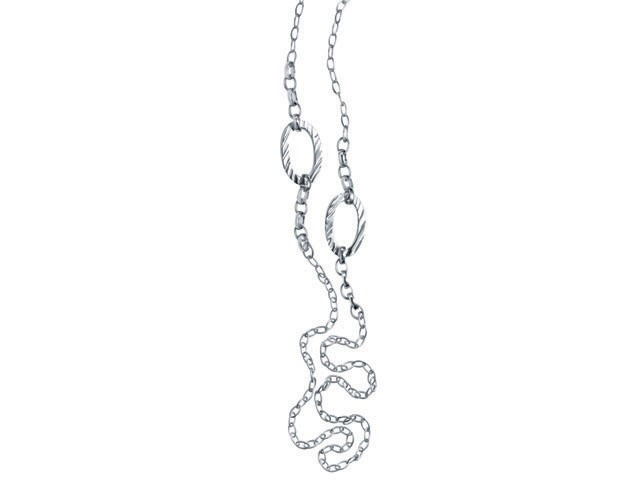 Cai Silver Zebra Skin Motif Oval Link Chain Necklace