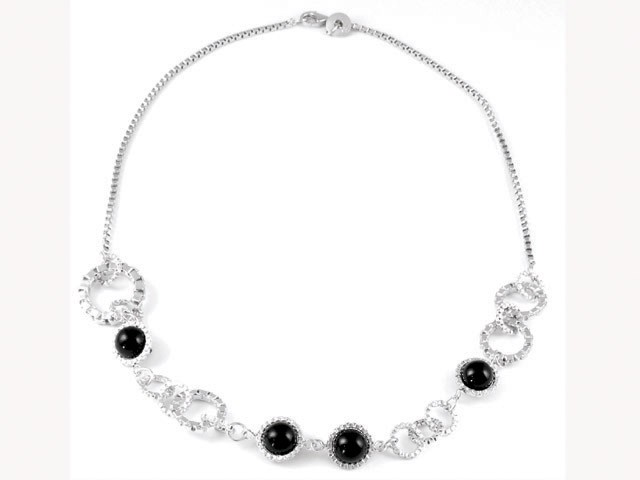 Cai Contemporary Black Onyx Silver Loop Necklace